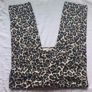 LOFT Marisa Cropped Leopard Print Pants Size 4